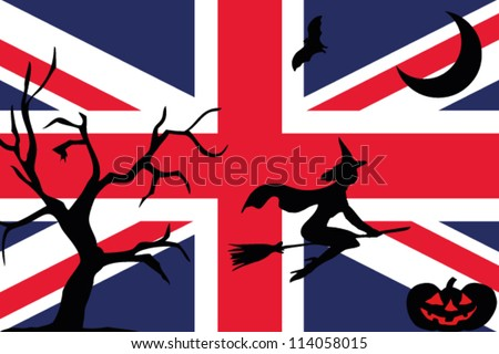 the flag of uk with halloween