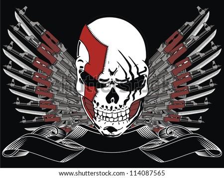 gun and skull