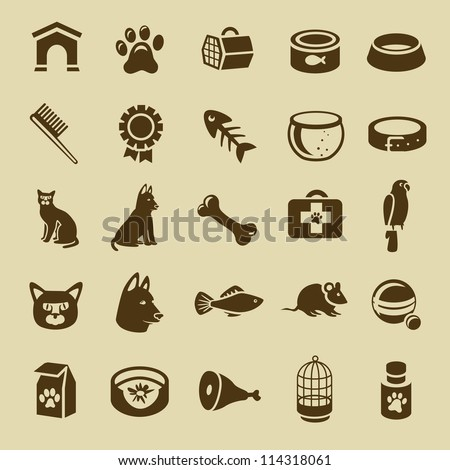 collection of pet care icons