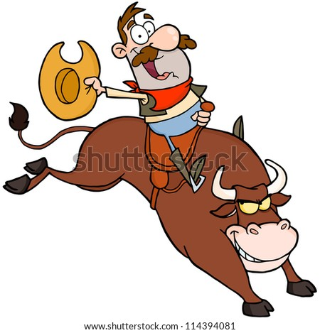happy cowboy riding bull in