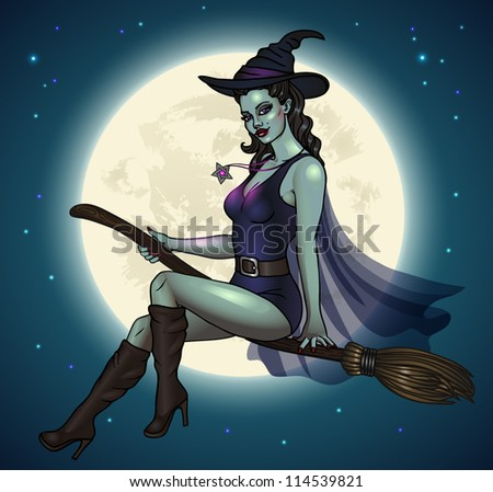 sexy pin up witch flying on