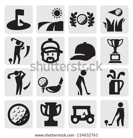vector black golf icon set on
