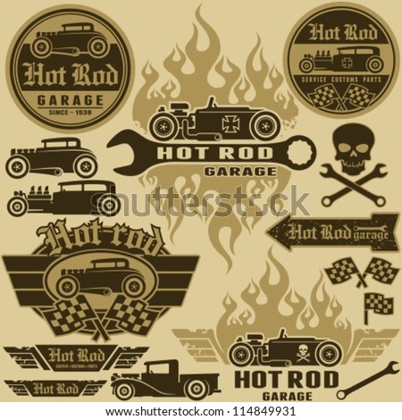 hot rod style labels and signs