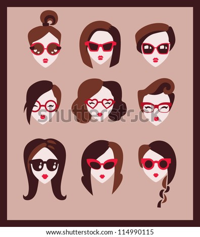 fashion girls in glasses icon