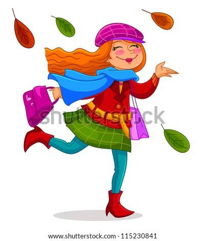 happy woman in autumn  jpeg