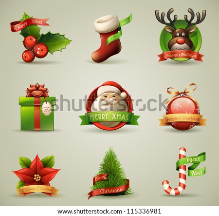 christmas icons objects