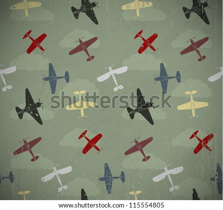 retro seamless war planes