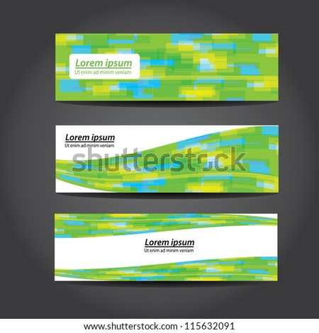 collection green banners modern