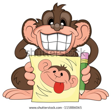 funny monkey illustration