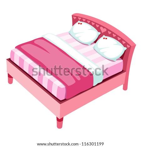 illustration of bed on white