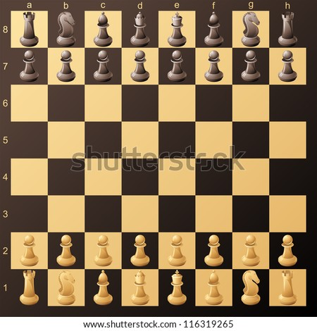 chessboard with chessmans ready