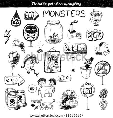 doodle set   eco monsters