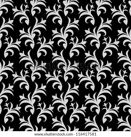 Pattern beige black color vector wallpaper floral swatch fabric for