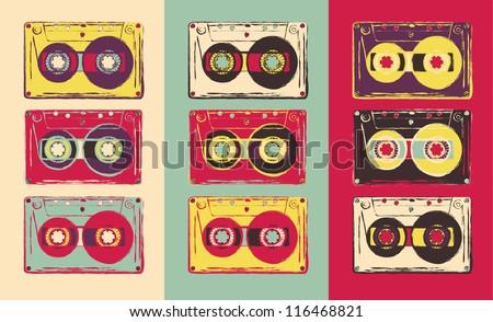 set of retro audio cassettes