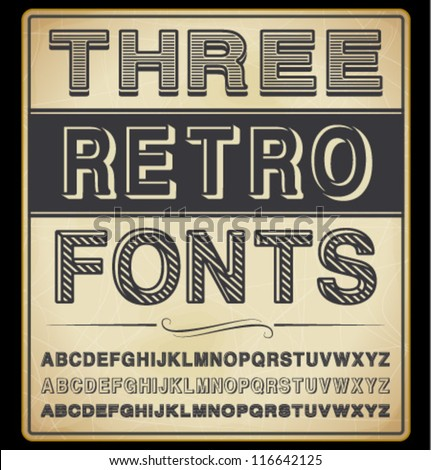 vector set  three vintage fonts