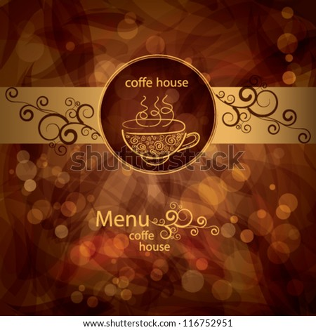 background  menu with cup of