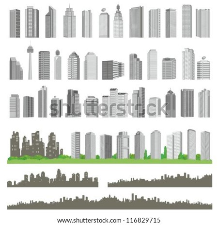 realistic vector buildings