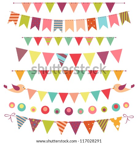 colorful bunting and garland