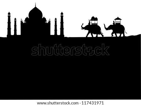 taj mahal   decorated elephants