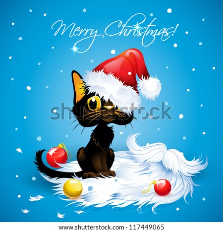 humorous cat wearing a santa