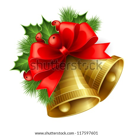 christmas bell with bow and