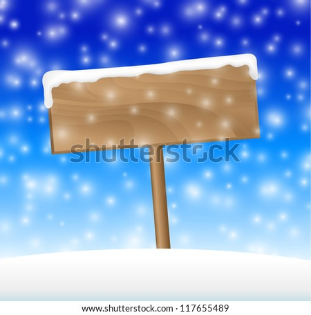 sign on snow meadow with