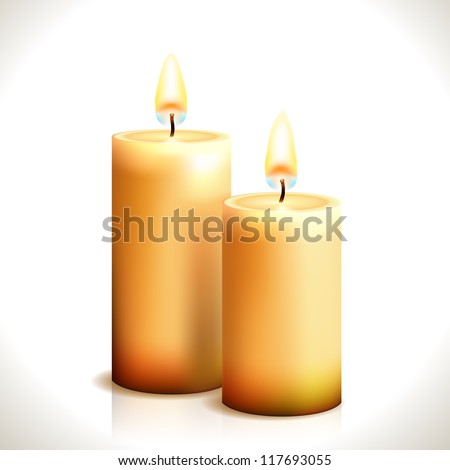 burning candles isolated on