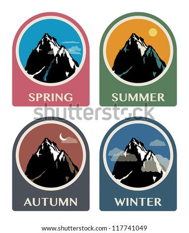 four seasons mountain icon set