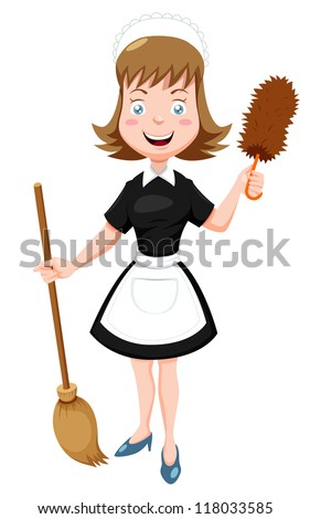 illustration of cartoon maid
