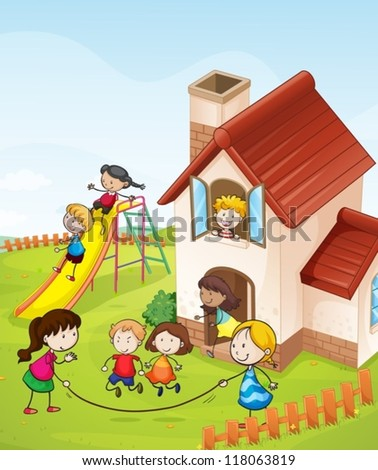 illustration of kids and a