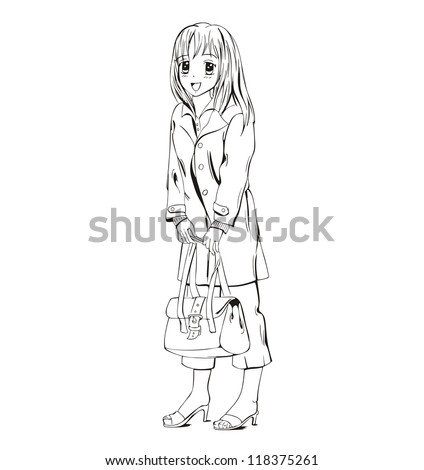 anime girl with handbag black