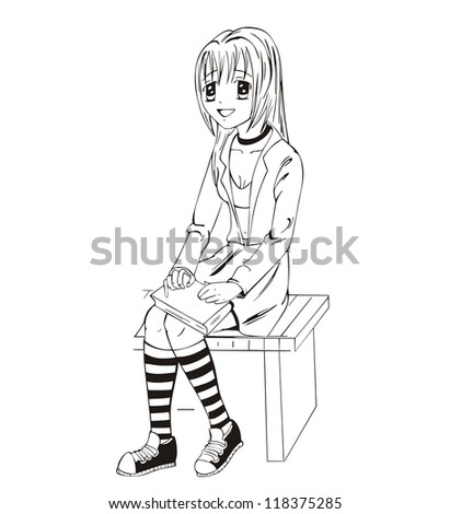 anime schoolgirl sitting black