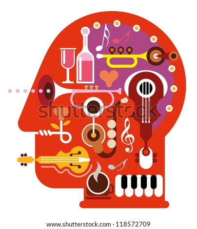 abstract music head   isolated