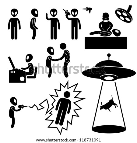 ufo alien invaders stick figure