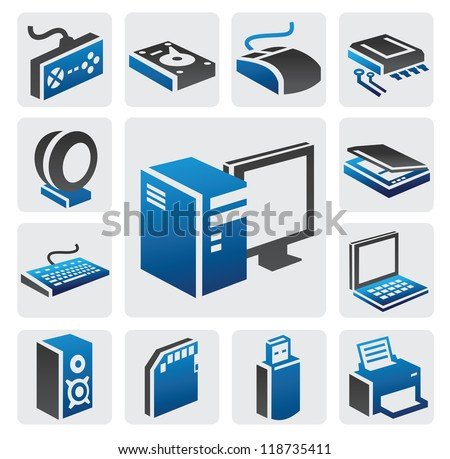 vector color computer icon set