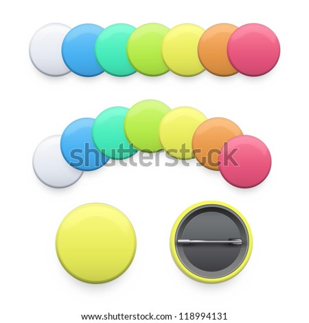 set of empty colorful badges