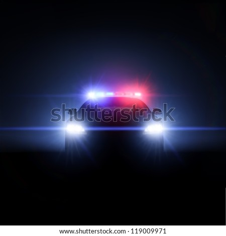 police car with full array of