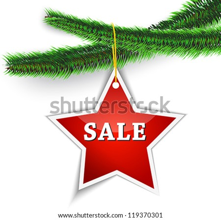 sale label hanging on christmas