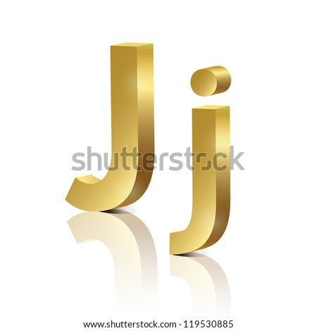 vector letter j of golden