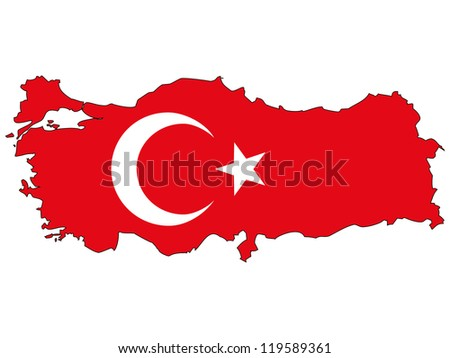 turkey vector map with the flag