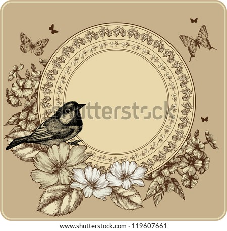 vintage frame with bird and