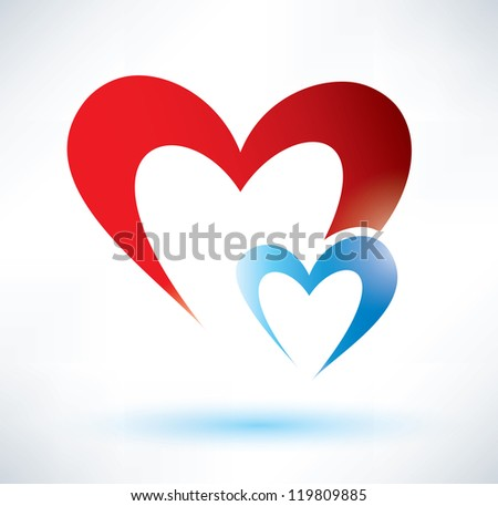 two hearts vector symbol  love