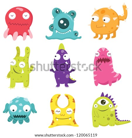 cute litter monsters set