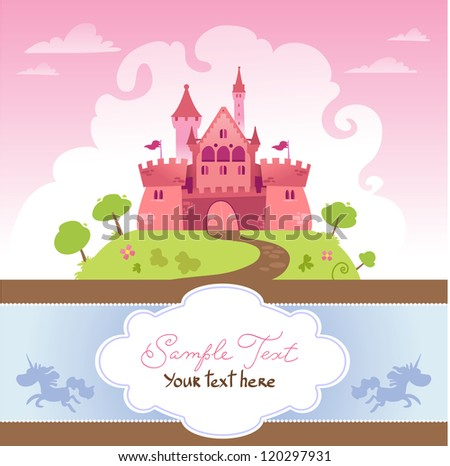 card with cartoon castle