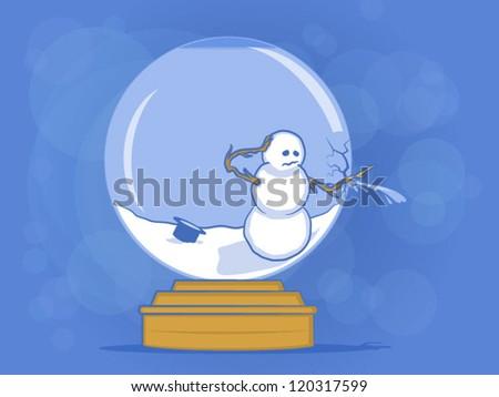 broken snow globe illustration