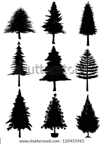 stock-vector-christmas-tree-silhouette