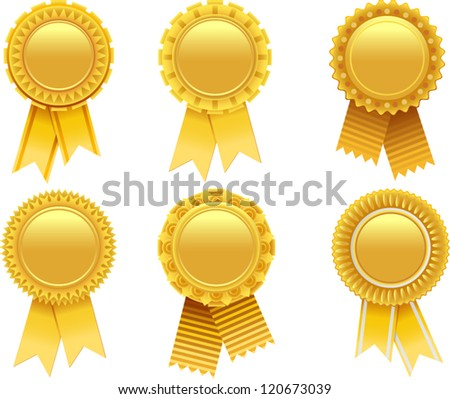 vector gold award rosette
