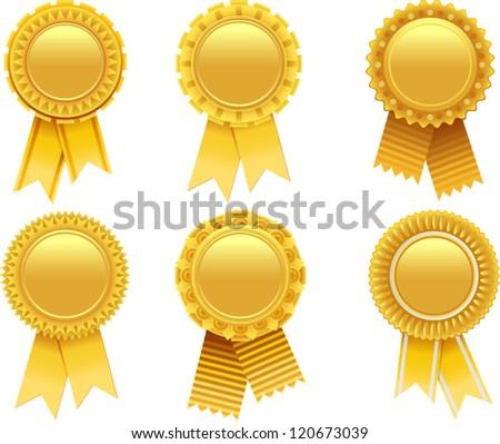 vector gold award rosette