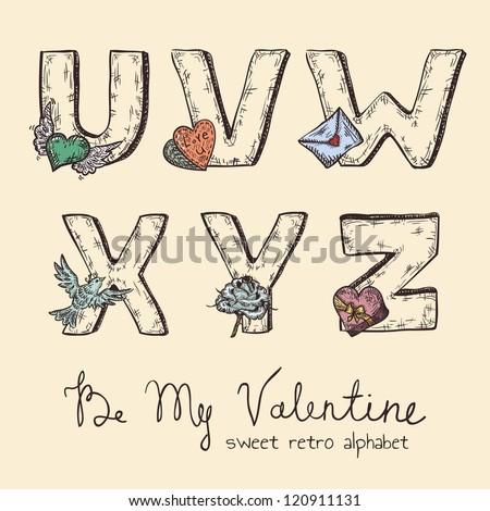 retro valentine alphabet   u  v