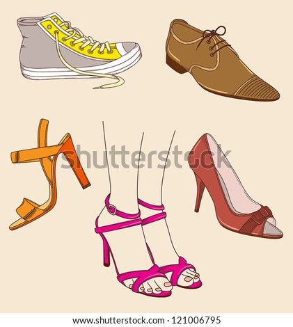 vector hand drawn female legs